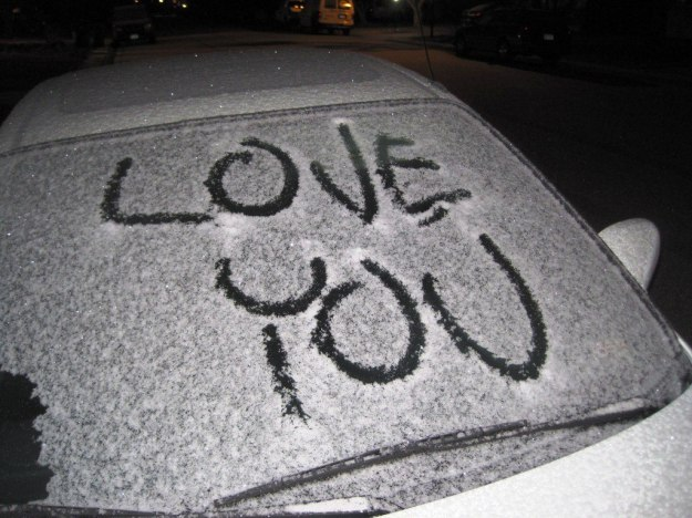 "message from a ""secret admirer"" on my car this morning :)"