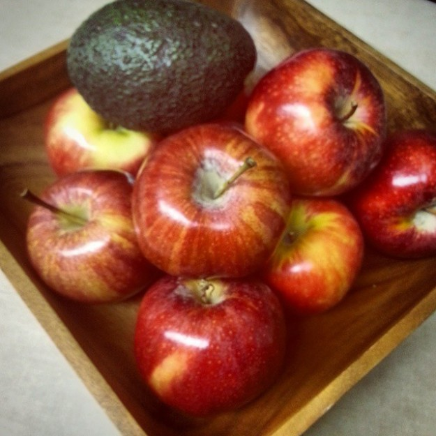 "April Love prompt: ""something beginning with a"": apples and an avocado"