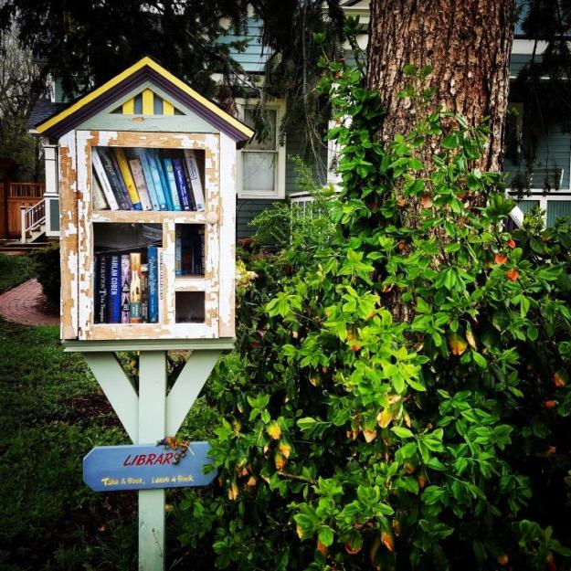 A tiny library from our walk yesterday morning