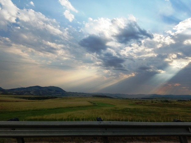 The sky that greeted us on HWY 287, finally home in Colorado
