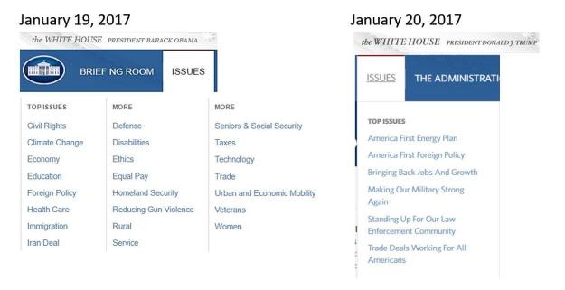 Another reason everyone needs to keep showing up: the menu on the left is the While House website issues under Obama, the menu on the right is only a half hour after the inaguration