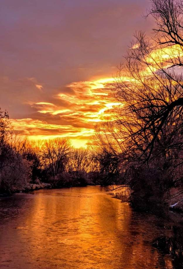 Sunrise over the Poudre River
